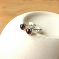 Sterling Silver and Garnet Stud Earrings, Tiny Studs