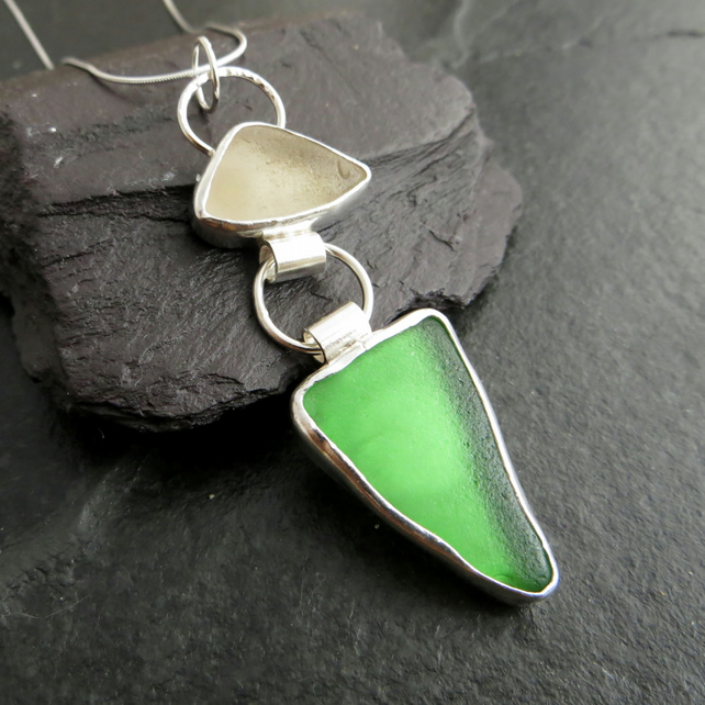 Green and White Seaglass Pendant in Sterling Silver, Geometric Jewellery