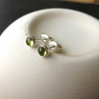 Sterling Silver and Peridot Stud Earrings, August Birthstone