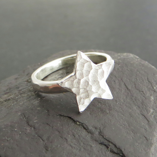 Sterling silver star ring, Space jewellery