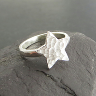 Silver Star Ring, Sterling Silver Stacking Ring, Space Jewellery, All Sizes