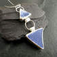 Blue and White Sea Pottery Pendant, Sterling Silver, Broken China Jewellery