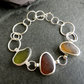 Sterling Silver Sea Glass Bracelet, Green, Amber and Brown English Seaglass