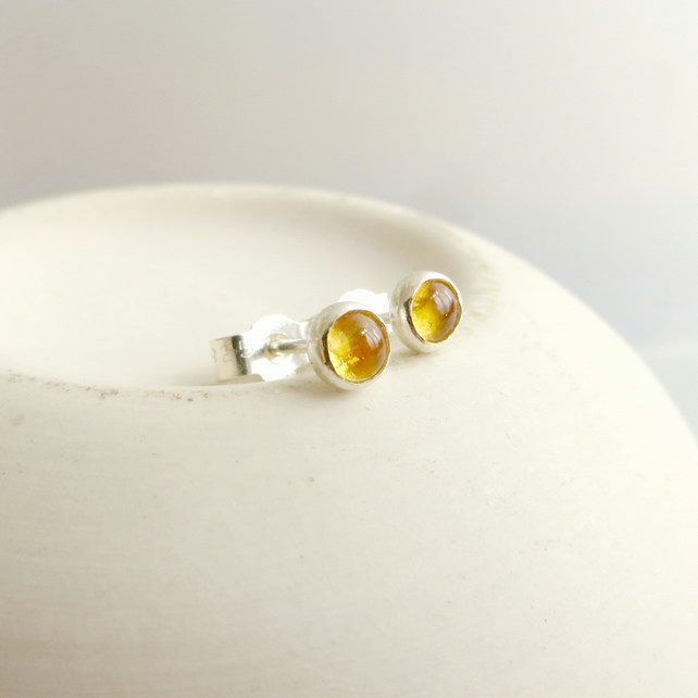 Sterling Silver and Citrine Stud Earrings, November Birthstone