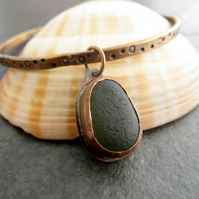 Green Sea Glass and Copper Bangle, 7th Anniversary Gift