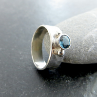 Sterling Silver Ring with London Blue Topaz, November Birthstone