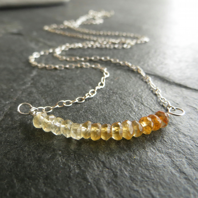 Citrine and Silver Bar Pendant, November Birthstone Necklace
