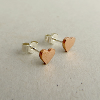 Copper Heart Stud Earrings, Copper Anniversary Gift