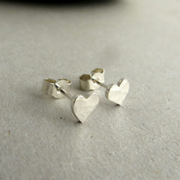 Sterling Silver Heart Stud Earrings, Small Studs