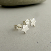 Sterling Silver Star Stud Earrings, Small Studs