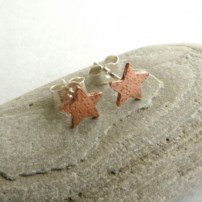 Copper Star Stud Earrings, Small Studs, Copper Anniversary Gift