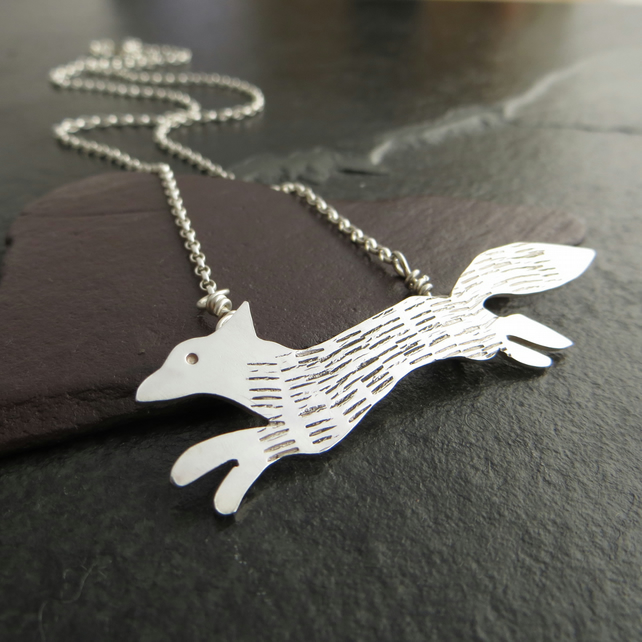Sterling Silver Fox Pendant, Running Fox Necklace, Gift for nature lover