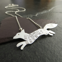 Sterling Silver Fox Pendant, Running Fox Necklace