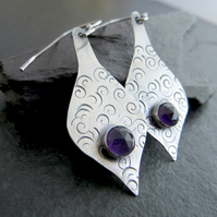 Sterling Silver and Amethyst Long Teardrop Earrings