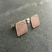 Square Copper Stud Earings with Leaf Vein Texture, 7th Anniversary Gift