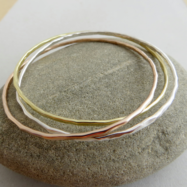 Sterling Silver, Bronze and Brass Bangle Set, 8th Anniversary Gift