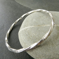 Sterling Silver Twisted Bangle, Hallmarked