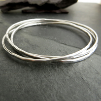 Sterling Silver Bangle Set, Interlocking Russian Wedding Ring Bangle