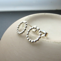 Silver beaded wire studs, Small bobbly circle earrings