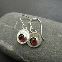 Silver and garnet disc earrings, January birthstone