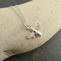 Sterling silver bumblebee necklace, Gift for nature lover