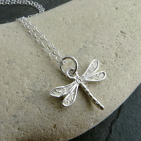 Sterling silver dragonfly pendant, Gift for wildlife lover