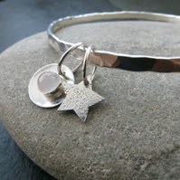 Sterling silver bangle with moonstone, Moon and stars bangle, Lunar jewellery