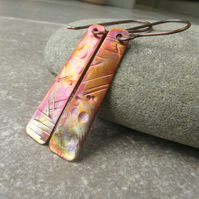 Multicoloured copper earrings, Gift for 7th wedding anniversary