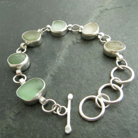 Aqua sea glass statement bracelet, Gift for seaglass collector