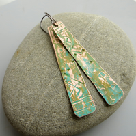 Copper verdigris earrings, Long boho style earrings