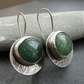 Green aventurine and silver earrings, Textured sterling disc earrings