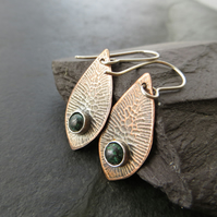 Copper and chrysocolla earrings, Gift for 7th anniversary