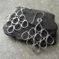 Sterling silver teardrop earrings, Filigree latticework style