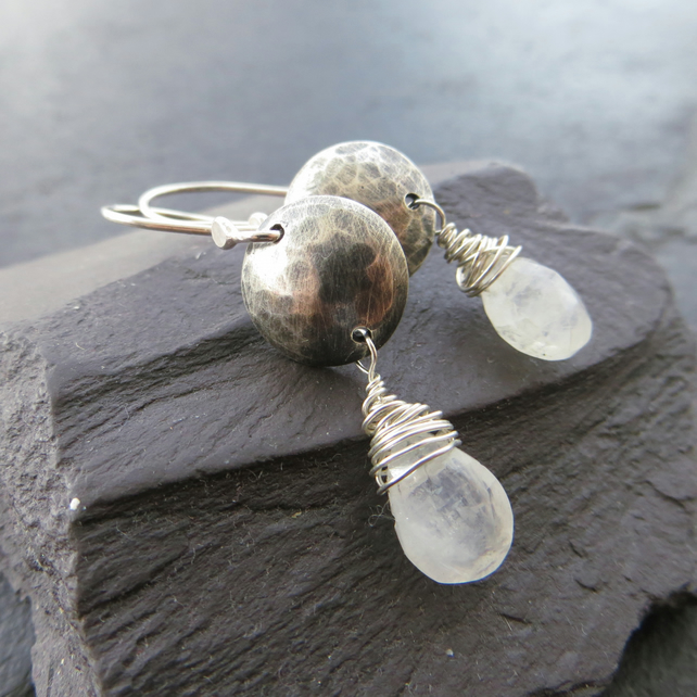 Sterling silver and moonstone earrings, Textured silver discs