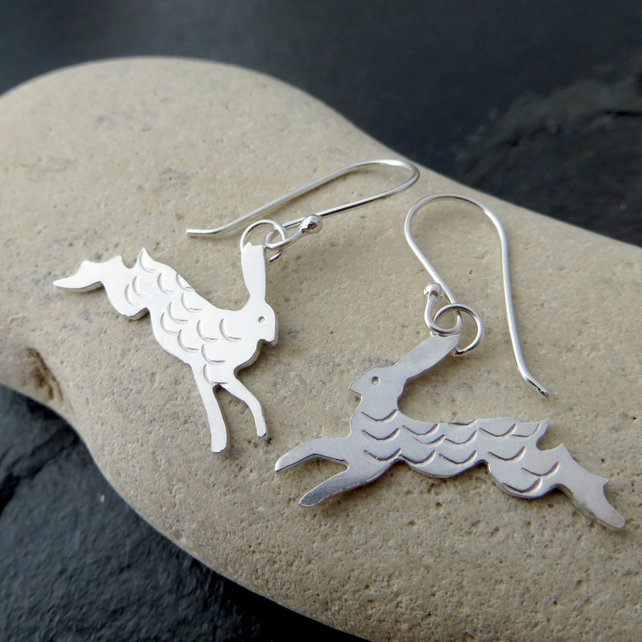 Solid silver hare earrings, Gift for wildlife lover