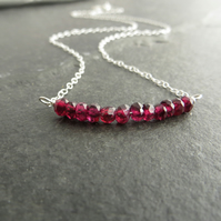 Sterling silver and garnet necklace, Dainty gift for January birthday