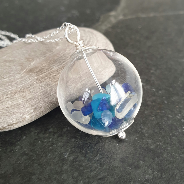 Glass vial pendant with blue and white sea glass, Beach wedding jewellery