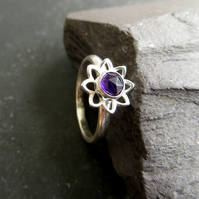 Amethyst and sterling silver flower ring, February birthstone gift