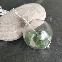 Sterling silver and green sea glass pendant, Glass globe necklace