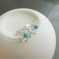 Silver and turquoise flower studs, December birthstone gift