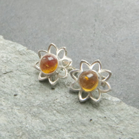 Citrine flower studs, Silver daisy earrings, Gift for November birthday
