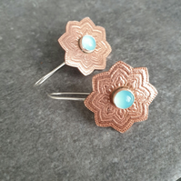 Copper and chalcedony earrings, Mandala jewellery, 7th anniversary gift