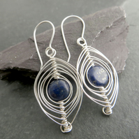 Sterling silver and lapis lazuli earrings, Wire wrapped jewellery