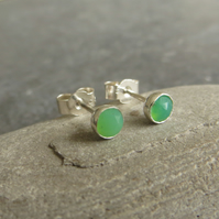 Tiny green stud earrings, Chrysoprase studs