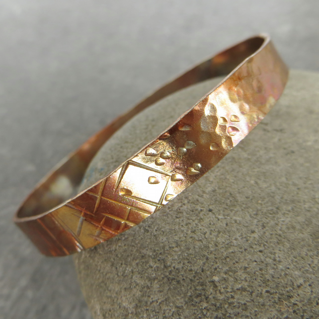 Wide copper bangle with iridescent patina, 7th anniversary gift