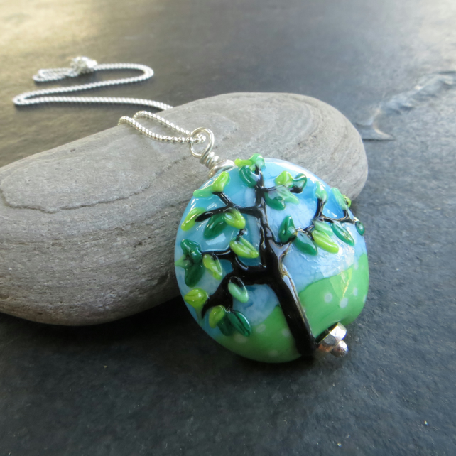 Blossom tree pendant, Spring garden necklace, Gift for nature lover