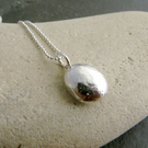 Recycled silver pebble pendant, Chunky silver nugget necklace