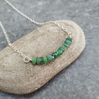 Emerald bar pendant, May birthstone necklace