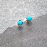 Sterling Silver and Turquoise Stud Earrings, December Birthstone