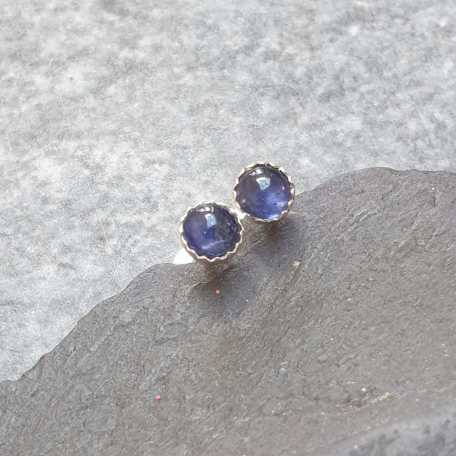 Sterling Silver and Iolite Stud Earrings, September Birthstone